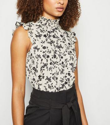 Tall White Floral Frill Trim High Neck Top