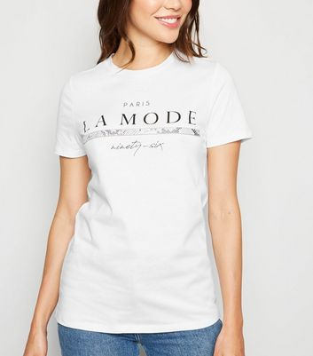 Tall White LA Mode Slogan T-Shirt