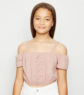 Girls Pale Pink Lace Up Cold Shoulder Top