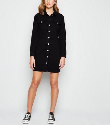 Black Long Sleeve Denim Bodycon Dress