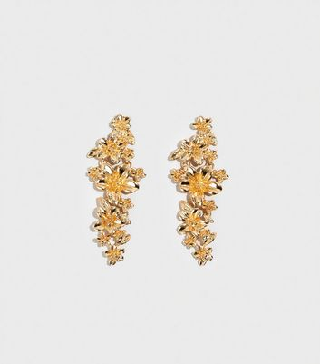 Gold Floral Drop Earrings
