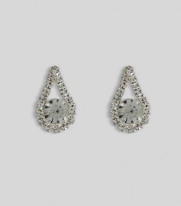 Silver Gem Teardrop Stud Earrings