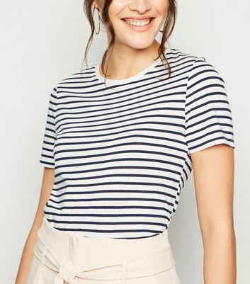 White Stripe Print T-Shirt