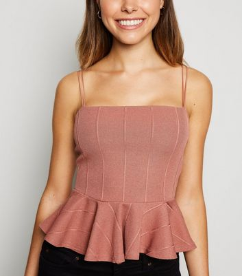 Rust Ribbed Strappy Peplum Cami
