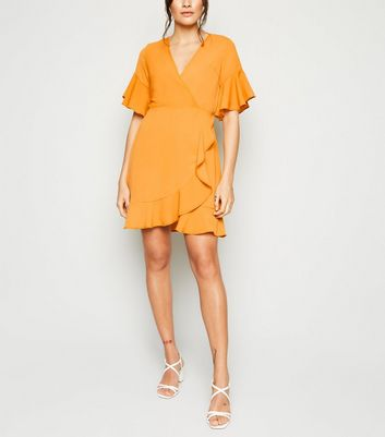 AX Paris Yellow Frill Wrap Dress