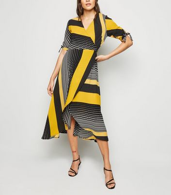 AX Paris Yellow Mixed Print Wrap Midi Dress