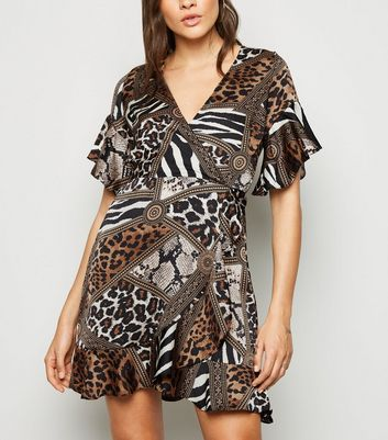 AX Paris Brown Mixed Animal Wrap Dress