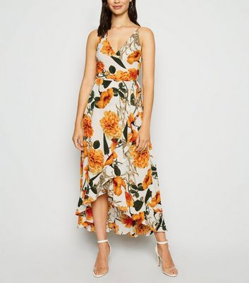 AX Paris White Floral Wrap Midi Dress