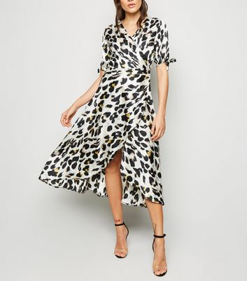AX Paris Off White Leopard Print Wrap Midi Dress