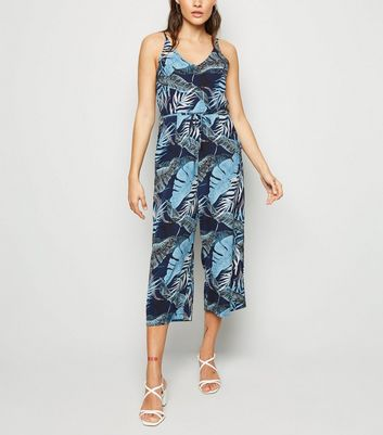 AX Paris Blue Tropical Culotte Jumpsuit