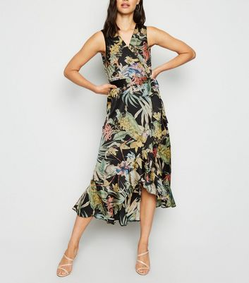 AX Paris Black Tropical Midi Dress