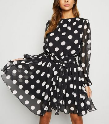 AX Paris Black Polka Dot Chiffon Mini Dress
