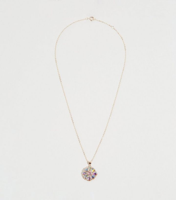 Rose Gold Cubic Zirconia Flower Necklace New Look