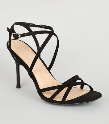 Black Strappy Square Toe Heels | New Look