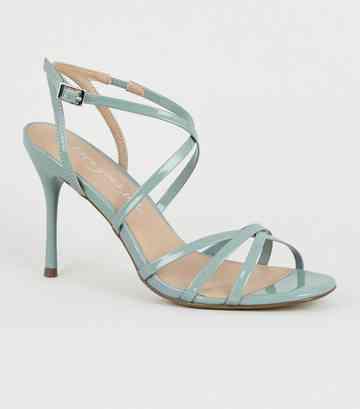 676e5307bfce5 Mint Green Patent Strappy Stiletto Heels ...