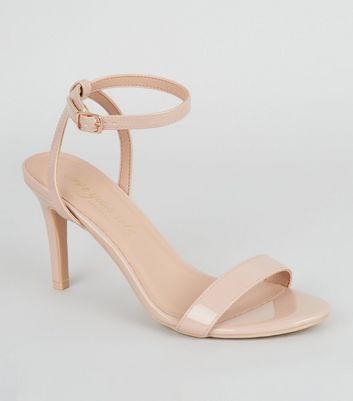 Nude Patent Mid Stiletto Sandals