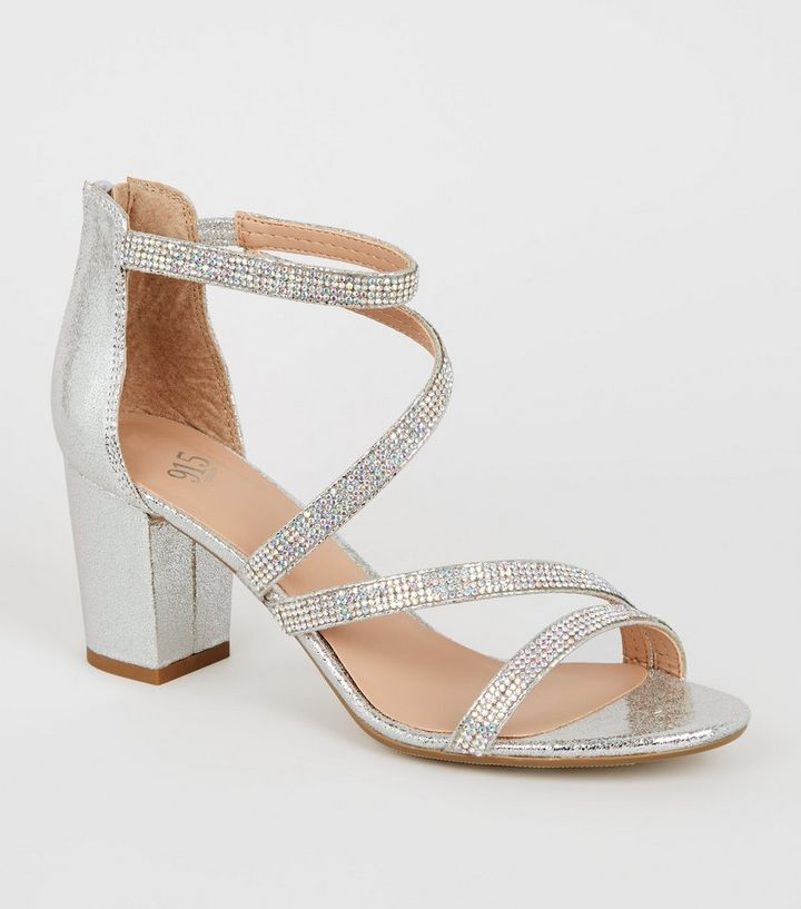 4d67246fb72 Girls Silver Glitter Diamante Block Heels Add to Saved Items Remove from  Saved Items