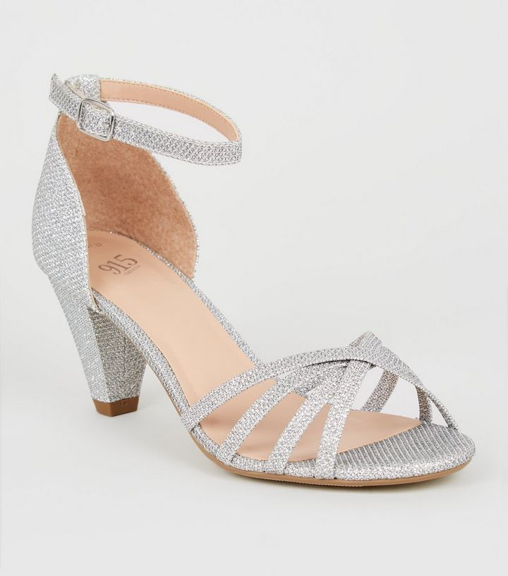 9549da44c1d Girls Silver Glitter Cone Heel Sandals Add to Saved Items Remove from Saved  Items