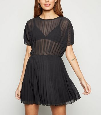 Cameo Rose Black Sheer Pleated Dress