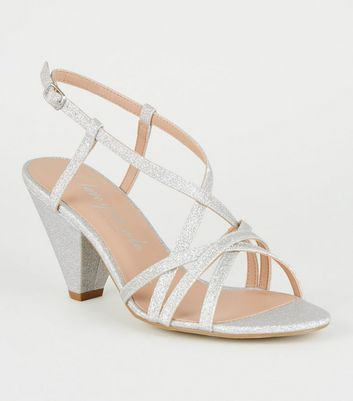 Wide Fit Silver Glitter Cone Heel Sandals