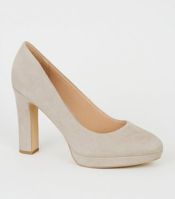 Wide Fit Grey Suedette Block Heel Courts