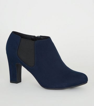 Wide Fit Navy Block Heel Chelsea Shoe Boots