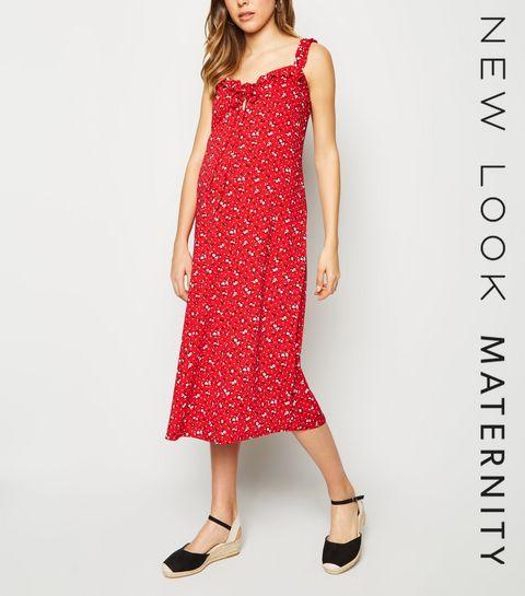 5126b842b09f ... Maternity Red Ditsy Floral Frill Trim Midi Dress ...