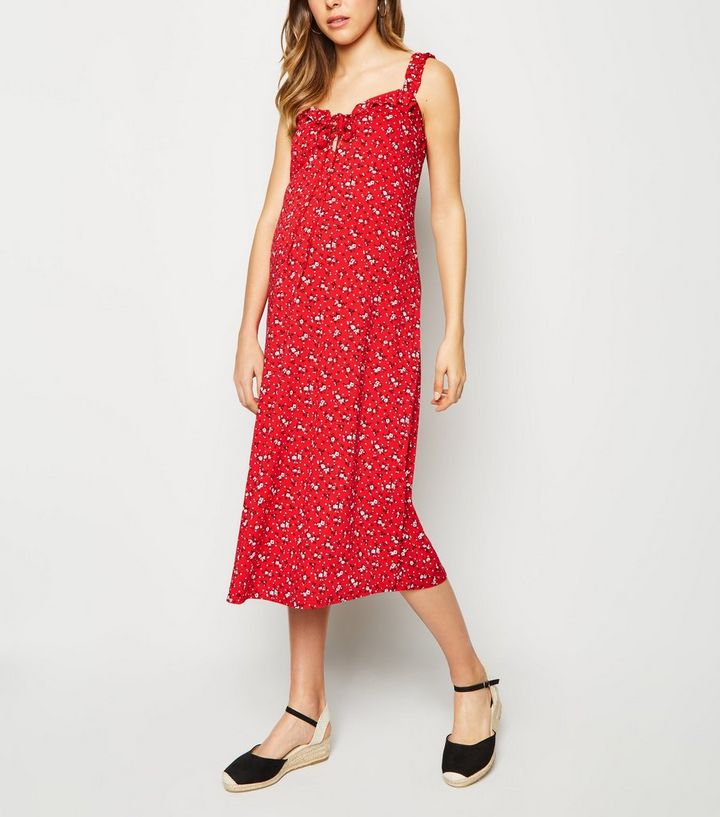 40edf4c7282a7 Maternity Red Ditsy Floral Frill Trim Midi Dress | New Look
