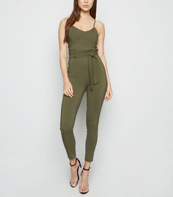 Cameo Rose Khaki Bustier Paperbag Jumpsuit