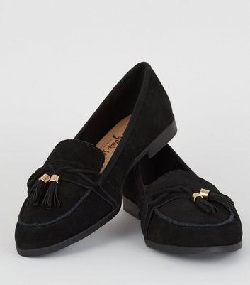 Black Suede Tassel Trim Loafers | New Look