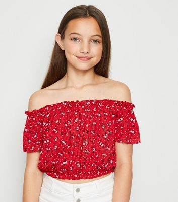 Girls Red Ditsy Floral Bardot Top