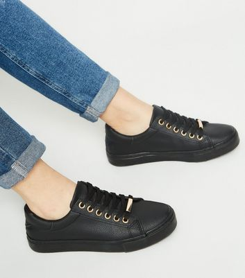 Girls Black Leather-Look Lace Up