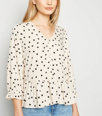 White Spot Button Up Peplum Blouse