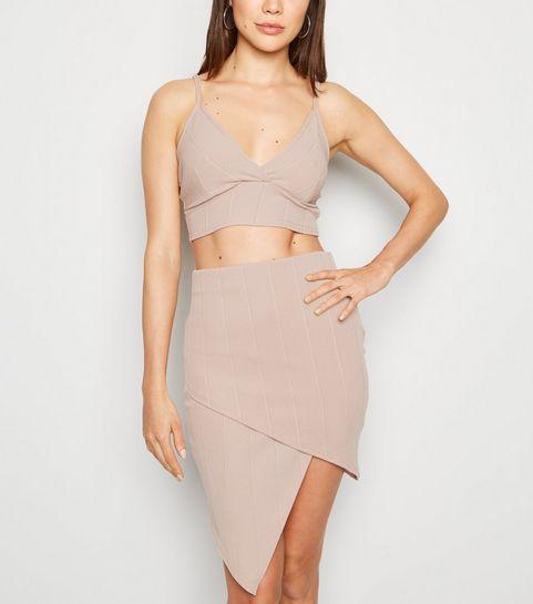 42eb383b167af ... Stone Asymmetric Hem Wrap Skirt ...