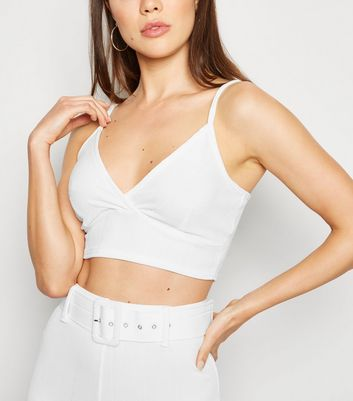 Off White Ribbed Bustier Bralette