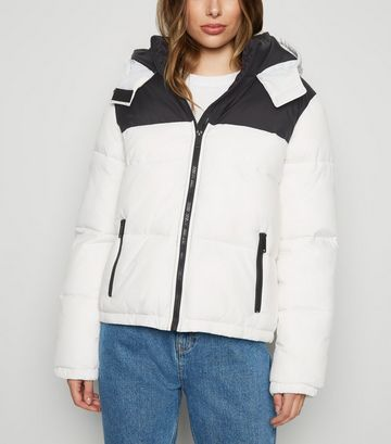 White Colour Block Hooded Puffer Jacket