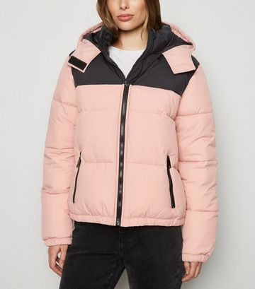 Pink Colour Block Hooded Puffer Jacket