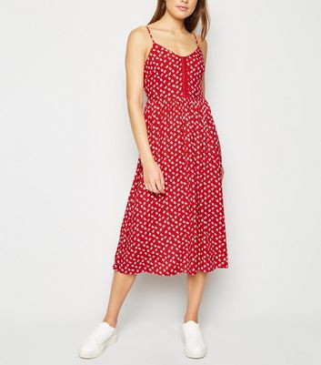 Red Ditsy Floral Hook and Eye Midi Dress