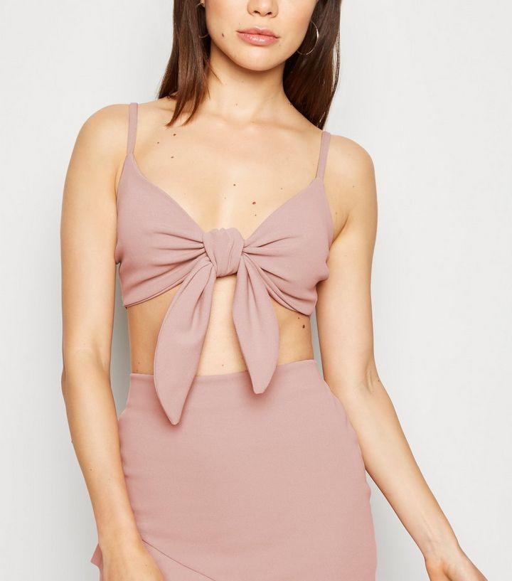 0e1c68d8f8f Pink Crepe Tie Front Crop Top | New Look
