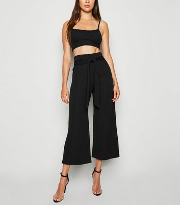 Black Tie Waist Ribbed Culottes