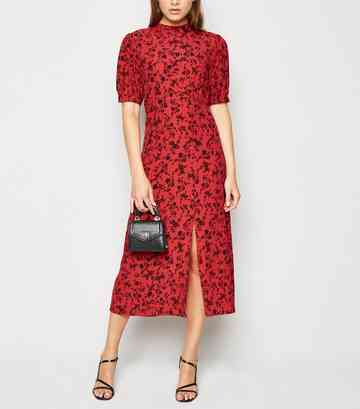 021de2511e Red Floral High Neck Split Hem Midi Dress ...