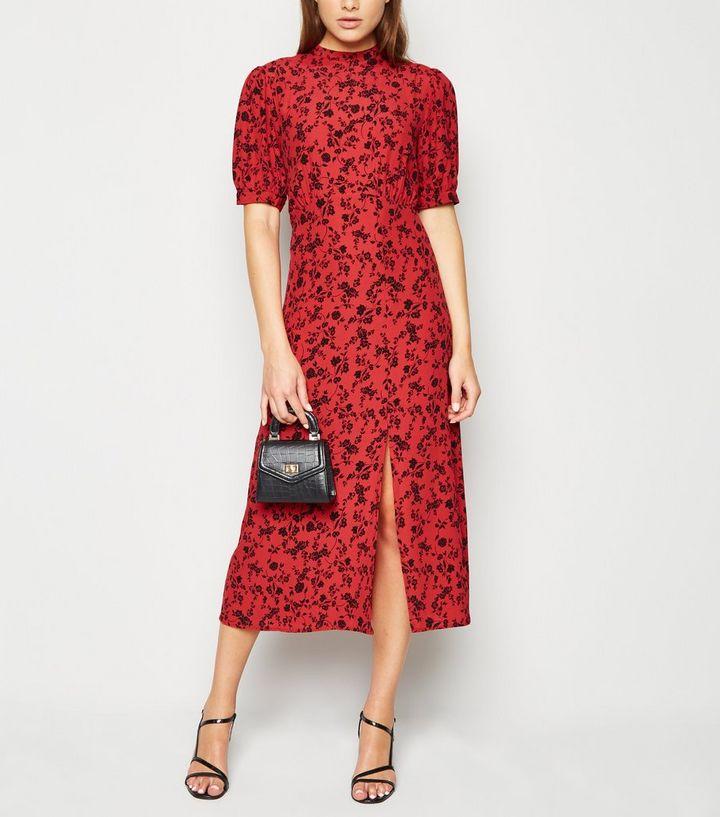 fa157e78d3b Red Floral High Neck Split Hem Midi Dress | New Look