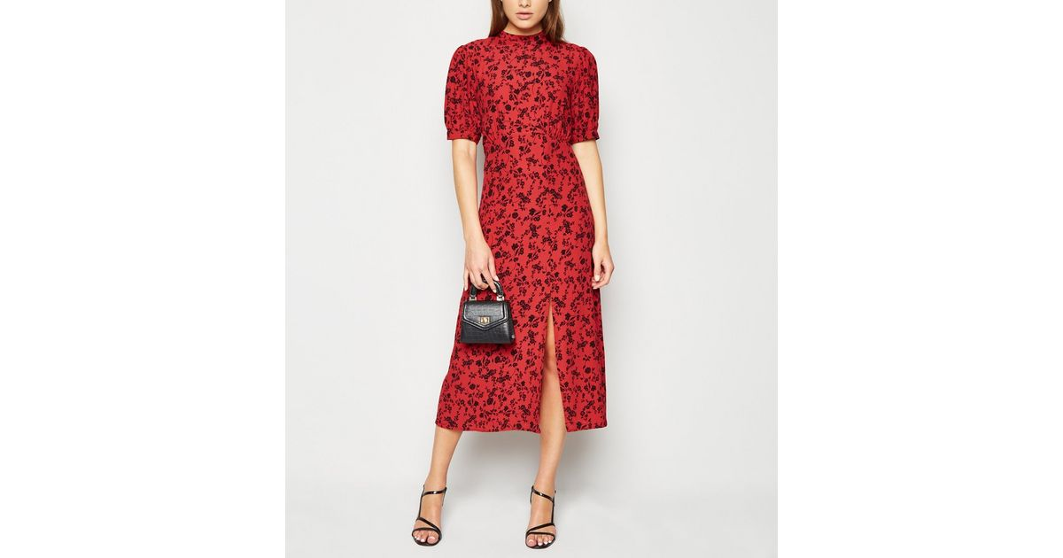 Red Floral High Neck Split Hem Midi Dress New Look