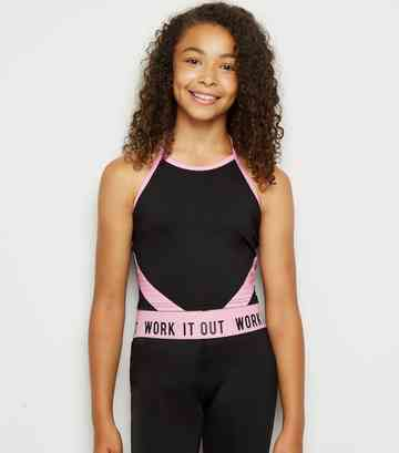 Girls Black Side Panel Sports Cami