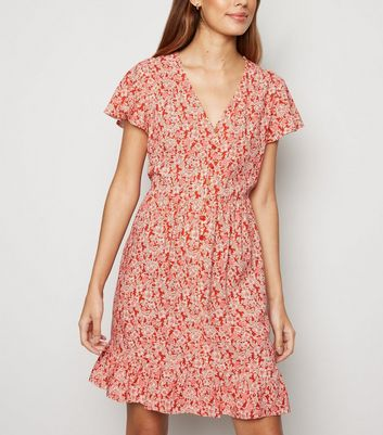 Red Ditsy Floral Button Up Smock Dress