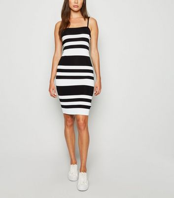 Black Stripe Ribbed Strappy Bodycon Dress