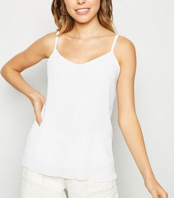 Cameo Rose White Pleated Cami