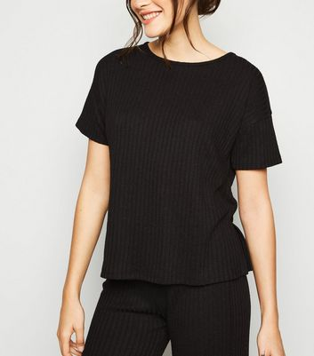 Black Ribbed T-Shirt