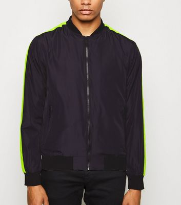 Black Neon Side Stripe Bomber Jacket