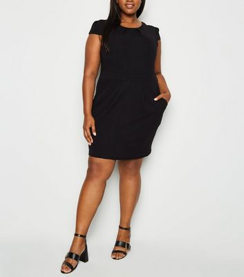 Mela Curves Black Cap Sleeve Tulip Dress